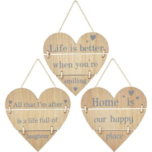 Happy slatted hanging heart sign