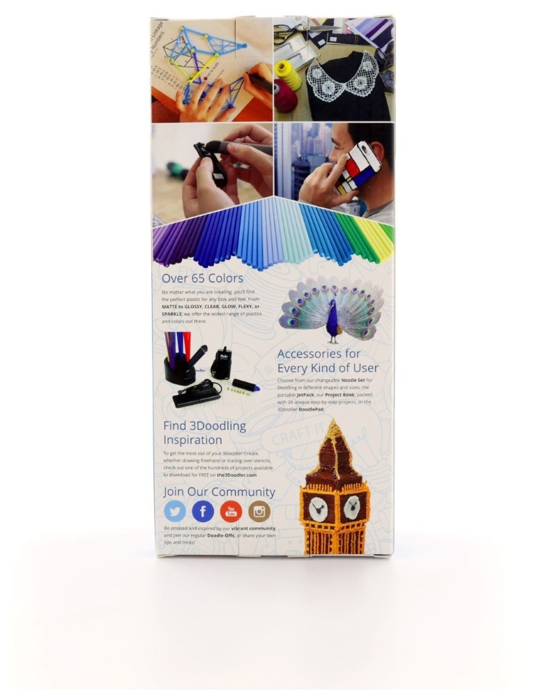 3Doodler Pen Create-Smokey Blue +2 Plastic Packs And Uk Plug