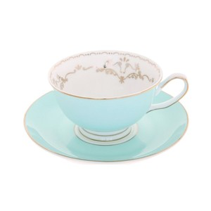 Miss Darcy Bird Teacup and Saucer Mint and Gold
