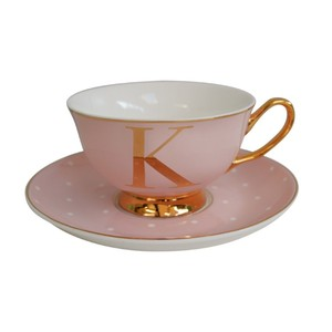 Alphabet Spotty Teacup And Saucer Letter
