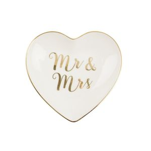 Mr Mrs Gold Heart Trinket Dish