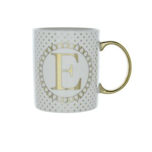 8X9.7Cm Mug Initial E Patterned Gold
