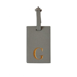 Monogram Luggage Tag Grey with Gold Letter G