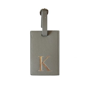 Monogram Luggage Tag Grey with Silver Letter K