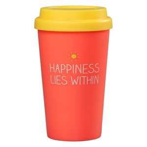 Happy Jackson Happiness Lies Within Coral Travel Mug