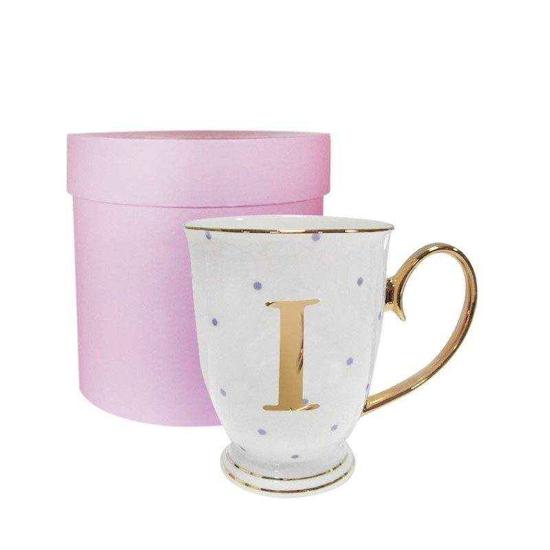 Alphabet Spotty Metallic Mug Letter I Gold with Lilac Spots
