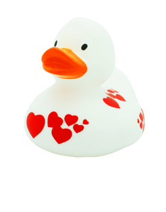 White Duck with Red Hearts design by LILALU