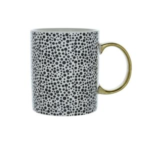 8X9.7Cm Dotty Mug Gold Handle Monochrome