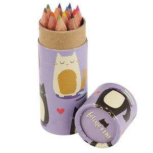Fun Kids Colouring Pencil Tube Cat Design