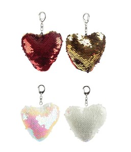 Fun Heart Shaped Glitter Sequin Keyringkey Chain