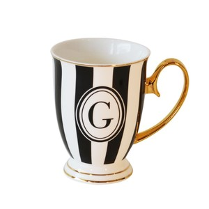 Alphabet Stripy Mug Letter G Black White