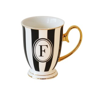 Bombay Duck Alphabet Stripy Letter F Black/White Mug