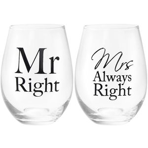 Mr Mrs Right Stemless Gls 2S
