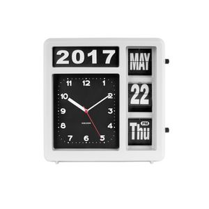 Table Wall Clock Flip White
