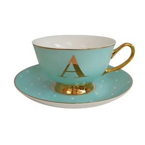Alphabet Spotty Teacup and Saucer Letter A Gold Mint