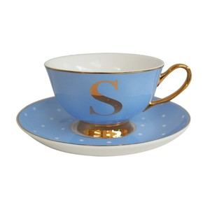 Alphabet Spotty Teacup And Saucer Letter S Gold Powder Blue