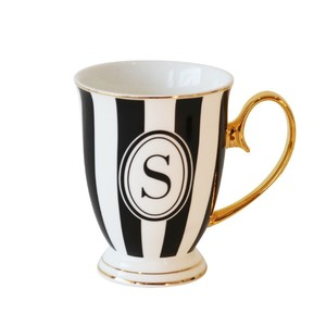Bombay Duck Alphabet Stripy Letter S Black/White Mug