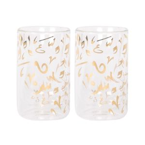 Double Walled Glass Accents Istikanah Real Gold Desighn