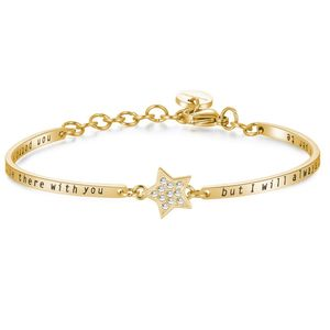 Bracelet Chakra In Stainless Steel Swarovski Crystals and Gold Pvd Star Shaped Central Part and Engraved Message
