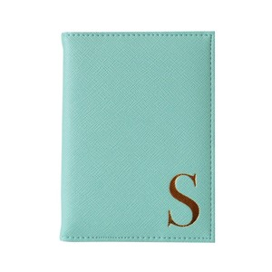 Monogram Passport Cover Mint with Gold Letter S