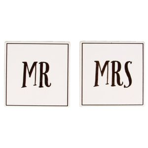 Mr And Mrs Coaster Set Of 2Pcs