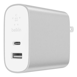 Belkin Uk Home Charger 2 Ports Usbc 27Wand 12W Usba Pd Silver
