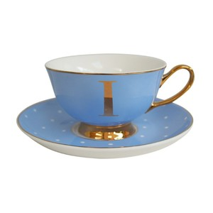 Alphabet Spotty Teacup And Saucer Letter I Gold Powder Blue