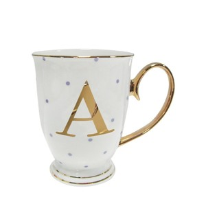Alphabet Spotty Metallic Mug Letter A Gold with Lilac Spots