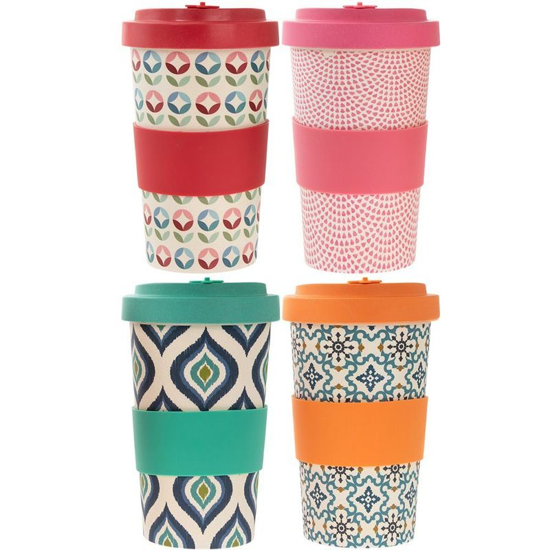 Bamboo Travel Mug 4 Asst 600Ml
