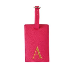 Monogram Luggage Tag Fuchsia with Gold Letter A