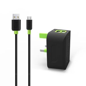 Spot Wall Charger 2 USB Micro Cable Black