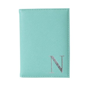 Monogram Passport Cover Mint with Silver Letter N