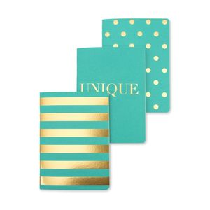 Shimmer Teal A6 Notebook Set of 3 Mixed