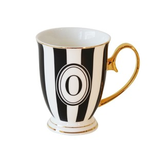 Bombay Duck Alphabet Stripy Letter O Black/White Mug