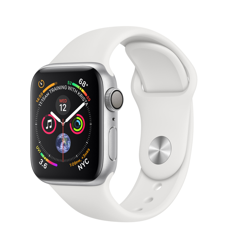 Apple Watch Series 4 Gps 40Mm Silver Aluminium Case With White Sport Band