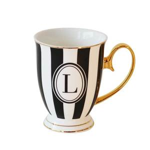 Alphabet Stripy Mug Letter L Black White
