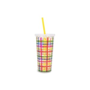 Ban.do Sip Sip Tumbler with Straw Deluxe Block Party with Glitter