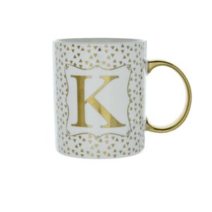 8X9.7Cm Mug Initial K Patterned Gold