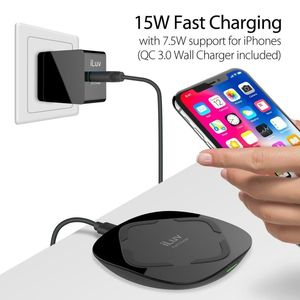 15Wqi Wireless Charger W Qc3 0Ac Charger Ul Black