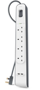 Belkin 4-Way Surge Protection Strip With 2X2.4A Share Usb Charging 2M