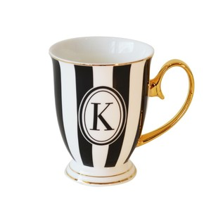 Bombay Duck Alphabet Strip Letter K Blackl/White Mug