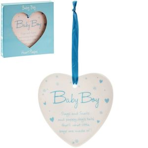 New Baby Boy Heart Plaque