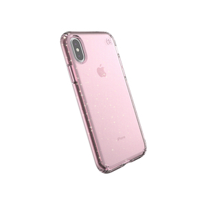 Speck Presidio Clear + Glitter Case Bella Pink with Gold Glitter/Bella Pink for iPhone XS