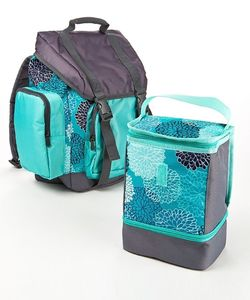 Drawstring Backpack Lunch Kit Aqua Spring Floral