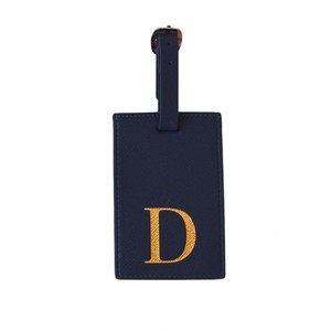Monogram Luggage Tag Navy with Gold Letter D