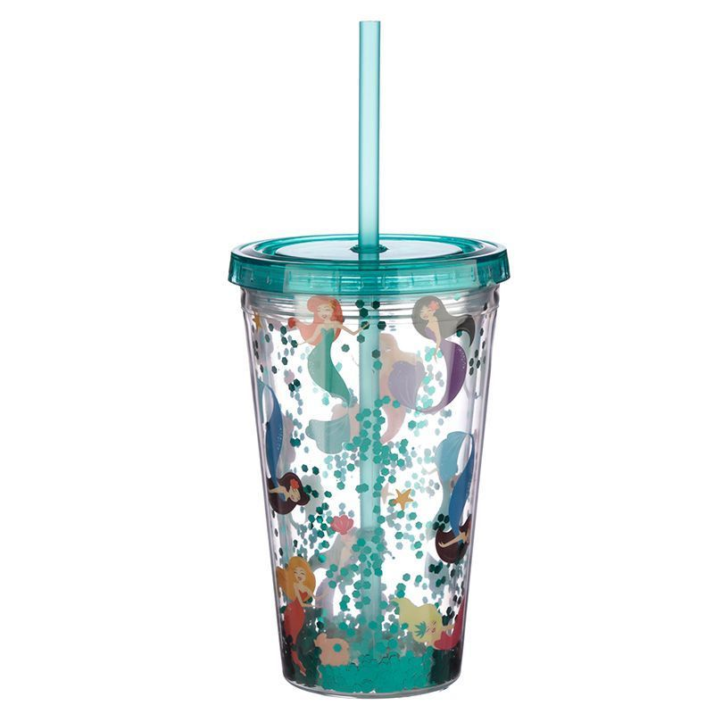 Cute Mermaid Double Walled Cup With Lidand Straw