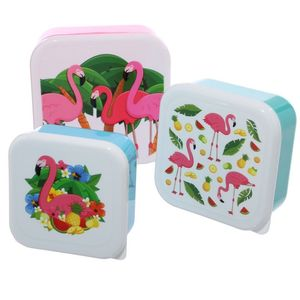 Fun Flamingo Design Set Of 3 Plastic Lunch Boxes