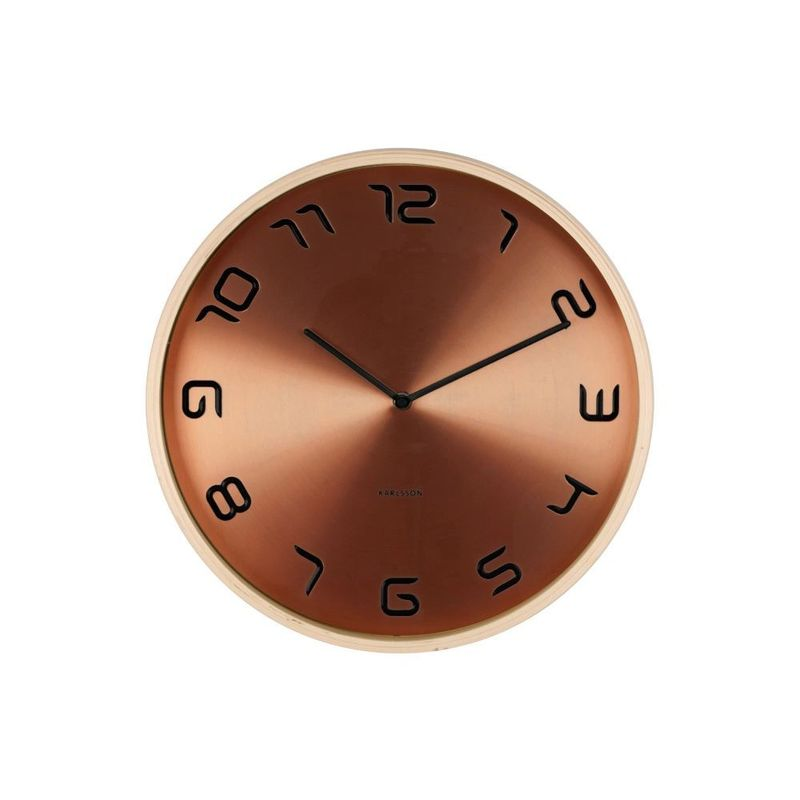 Wall Clock Bent Wood Copper Plated