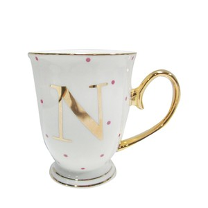 Alphabet Spotty Metallic Mug Letter N Gold with Fuchsia Spots