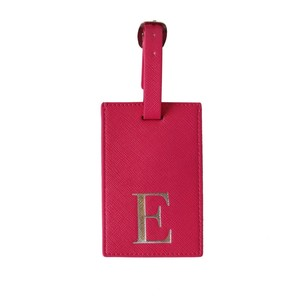 Monogram Luggage Tag Fuchsia with Silver Letter E